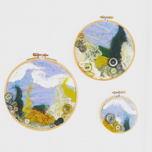 Wet felted textile landscape triptych hoop art with vintage button detail