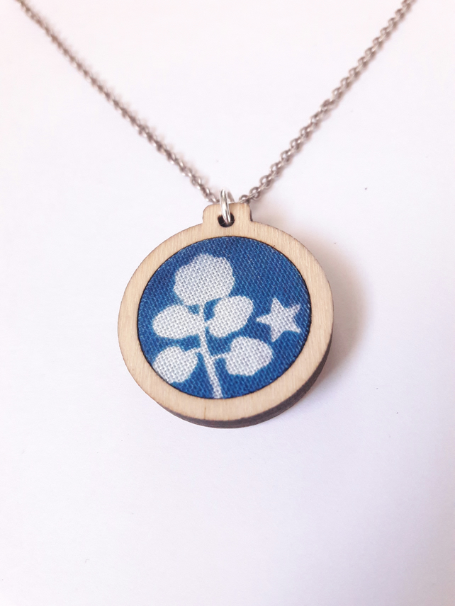 Leaf cyanotype necklace, wooden embroidery hoop pendant on silver chain