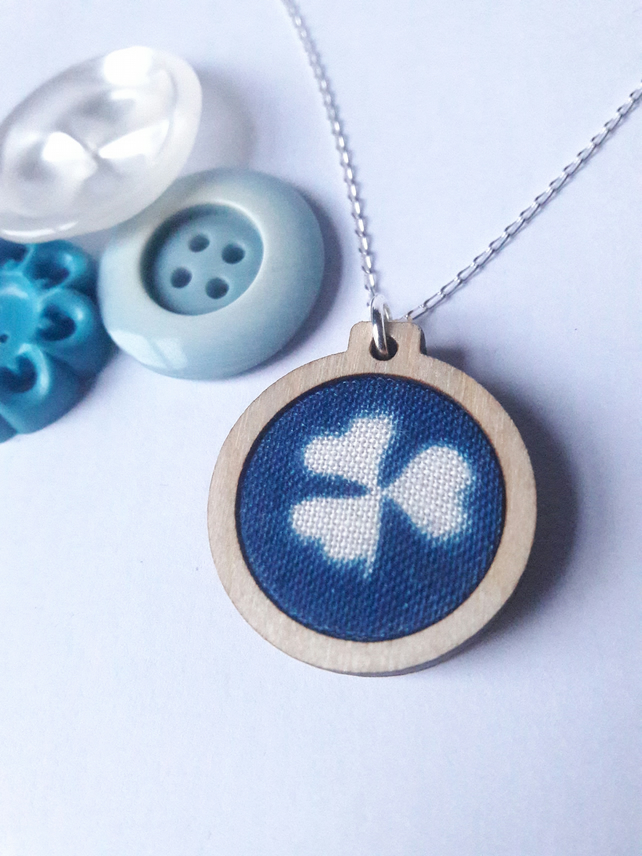 Clover cyanotype necklace, wooden mini embroidery hoop pendant on silver chain