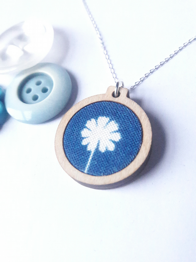 Leaf cyanotype necklace, wooden mini embroidery hoop pendant on silver chain