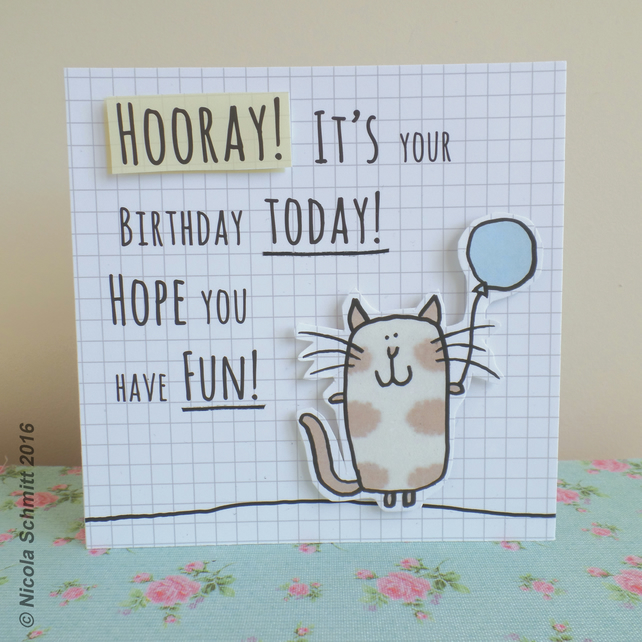 'Cat & balloon'' Happy Birthday Greeting card