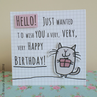 'Kitty & Gift' Happy Birthday Greeting card