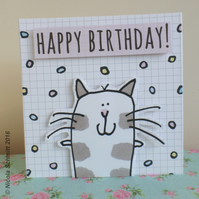 'Happy Cat' Happy Birthday Greeting card