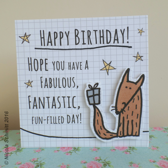 'Little Fox'  Happy Birthday greeting card