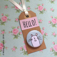 Mr Mouse 'Hello' pin badge tag