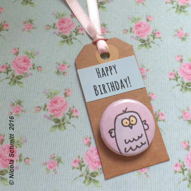 Mrs Owl 'Happy Birthday' pin badge tag