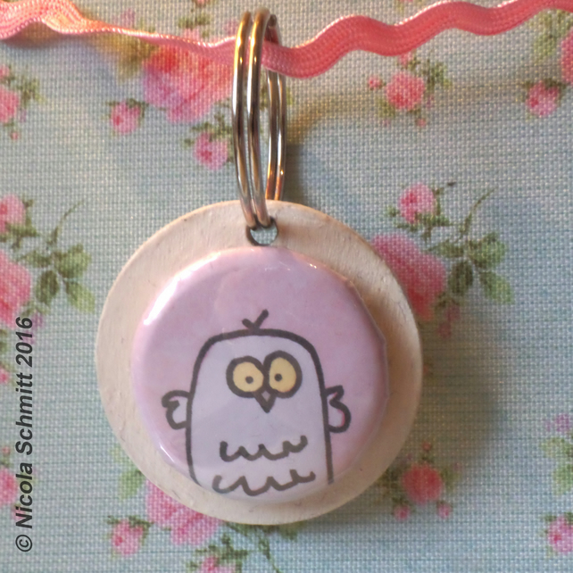 'Mrs Owl' keyring (light cream)