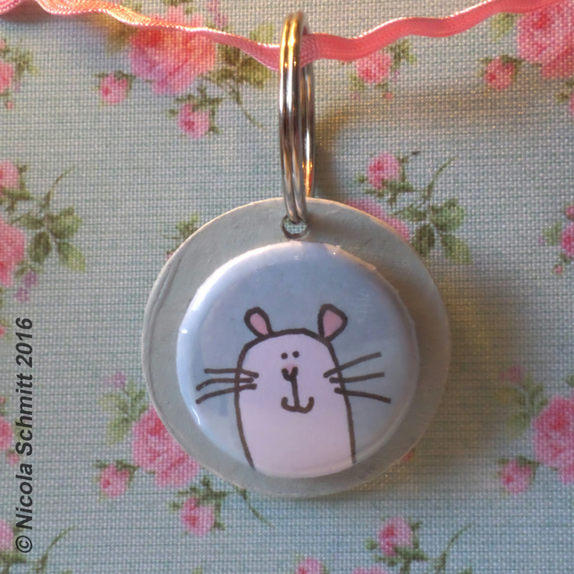 'Mr Mouse' keyring (mint green)