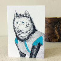 The Wolf - Little Red Riding Hood - Greetings Card Handmade Screen Printed
