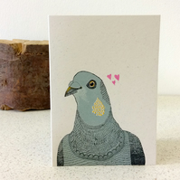 Gerald Looking for Love - Screen Printed Greeting Card Pigeon Valentine