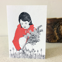 Little Red Riding Hood - Greetings Card Handmade Screen Printed Illustration