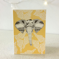 Elephant - Screen Printed Greeting Card Illustration