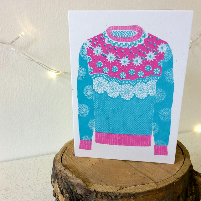 Winter Woolies - Cyan & Magenta - Greetings Card Handmade Screen Printed