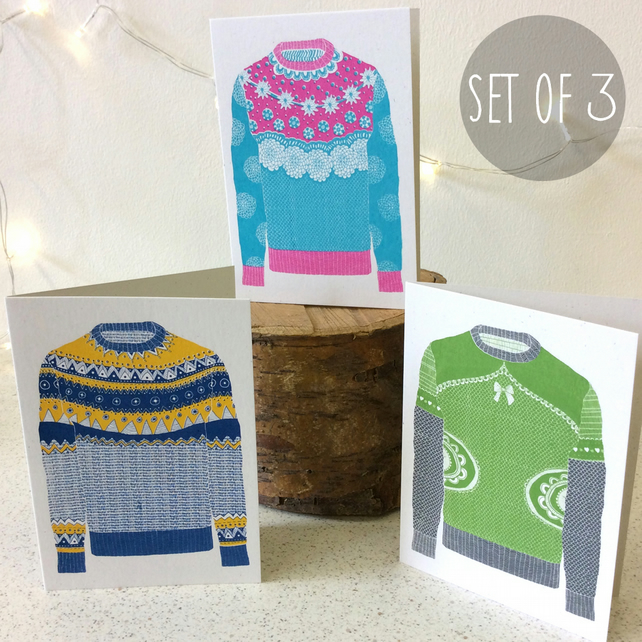 Winter Woolies - Set of 3 - Greetings Card Handmade Screen Printed Winter