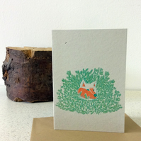 Fox in bush - Screen Printed Greeting Card Garden Forest