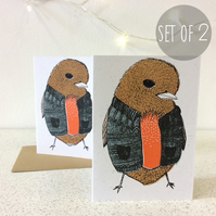 Cardiganed Robins Colour - Set of 2 - Greetings Card Screen Printed Christmas