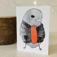Cardiganed Robin - Black & Red - Greetings Card Screen Printed Christmas