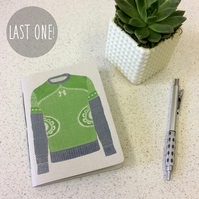 SALE! A6 Winter Jumper Grey & Green Notebook -  30 Blank Pages - Screen Printed