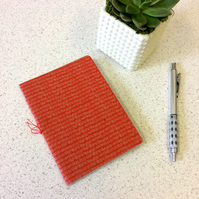 A6 Red Hairy Pattern Notebook - Lined & Blank Pages - Screen Printed Handbound