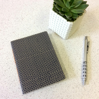 A6 Black Scallop Pattern Notebook - Graph Pages - Screen Print Handbound