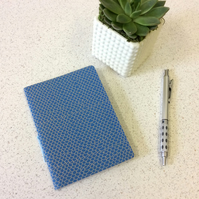 A6 Blue Scallop Pattern Notebook -  Lined & Blank Pages - Screen Print Handbound