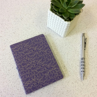 A6 Purple Feather Pattern Notebook - Lined &Blank Pages - Screen Print Handbound