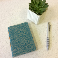 A6 Turquoise Feather Pattern Notebook - 30 Graph Pages - Screen Print Handbound