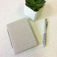 A6 White Line Pattern Notebook - 30 Blank Pages - Screen Printed Handbound