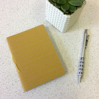 A6 Yellow Line Pattern Notebook - 30 Blank Pages - Screen Printed Handbound