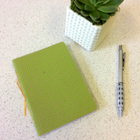 A6 Green Scallop Pattern Notebook - Graph & Blank Pages - Screen Print Handbound