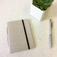 A6 White Line Pattern Notebook -  30 Lined Pages with Elastic - Screen Printed