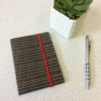 A6 Black Line Pattern Notebook -  30 Graph Pages with Elastic - Screen Printed