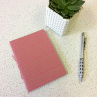 A6 Pink Line Pattern Notebook -  Graph & Blank Pages - Screen Printed Handbound