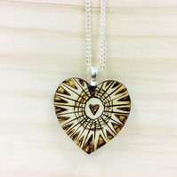 Heart necklace wood wooden silver chain