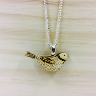 Bird pigeon dove necklace wood wooden silver chain