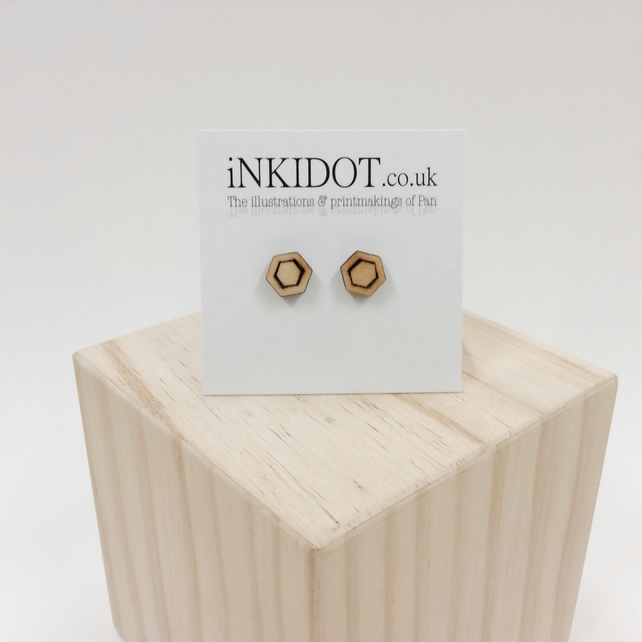 Hexagon geometric stud earrings silver wooden little mini tiny