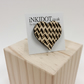 Heart brooch badge button wood wooden silver clasp