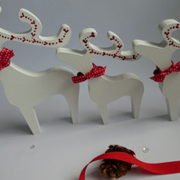 Set of 3 Handpainted Stargazing Reindeer