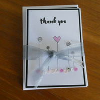 Pack of 6 Thank You Cards - Pink & Grey Sequins