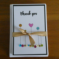 Pack of 6 Thank You Cards - Bright Sequins
