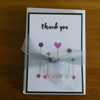 Pack of 6 Thank You Cards - Pink & Purple Sequins