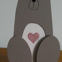 MDF Bear With Heart - Brown