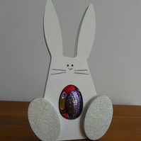 SALE - Easter Egg Holder - Bunny With Blue Feet