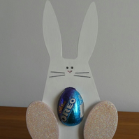 SALE - Easter Egg Holder - Bunny With Pink Feet