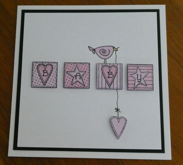 New Baby Card - Pink Blocks