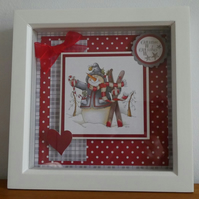 Snowman With Skis Box Frame Decoration