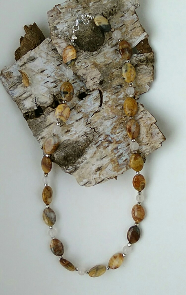 Natural Lace agate and rose quartz necklace. Silversunbird jewellery