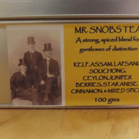 MR.SNOBS TEA - a strong,spiced tea for gentlemen of distinction. 100gms tea tin.