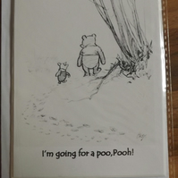 I'm Going For A Poo Pooh! Blank Handmade Greetings Card. One of 4