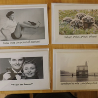 4 x Amusing Blank greetings cards - original cards by me - not in any shops!